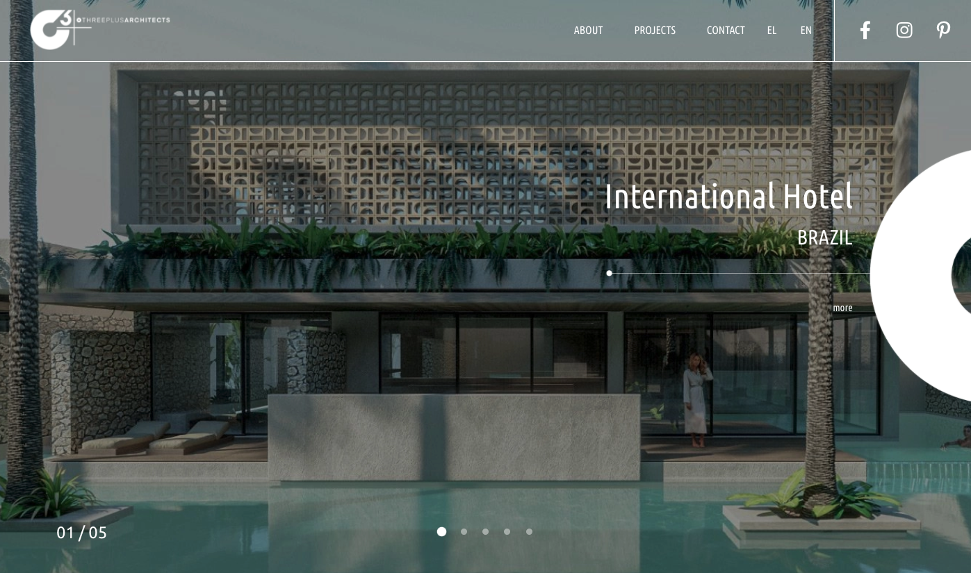 A homepage with extensive use of negative space. MDesigners designed this for O3plus